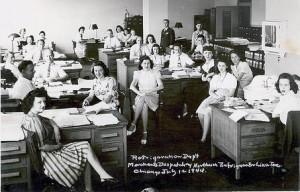 women workplace postcard